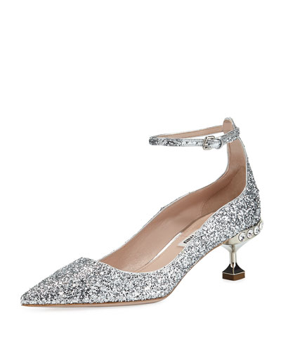 Glitter Pointed Ankle-Strap Pumps
