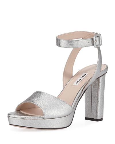 d19c624e4ee Metallic Leather Platform Sandals Quick Look
