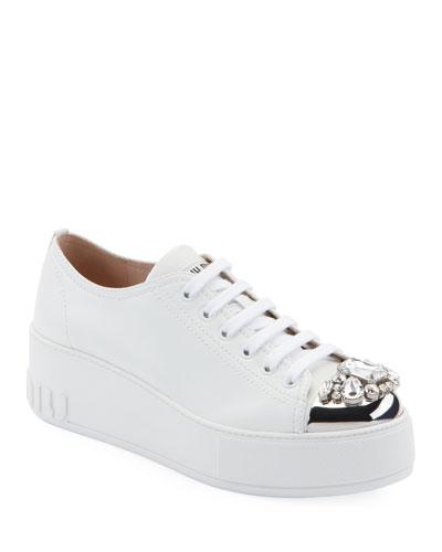 c0413b094555 Jeweled Leather Platform Sneakers