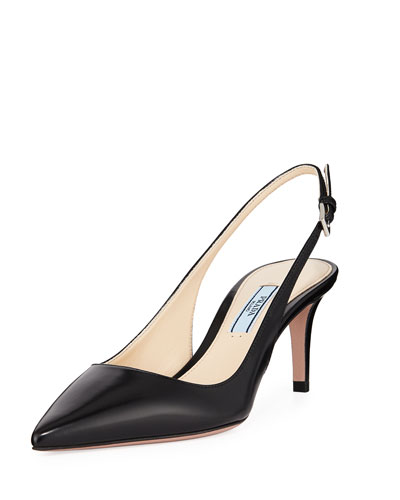 b73c387137c4 Pointed Leather Slingback Pumps Quick Look. Prada