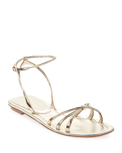Flat Metallic Leather Strappy Sandals