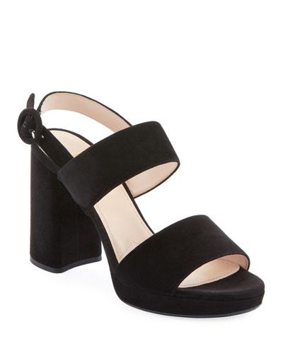 Suede Slingback Block-Heel Platform Sandals