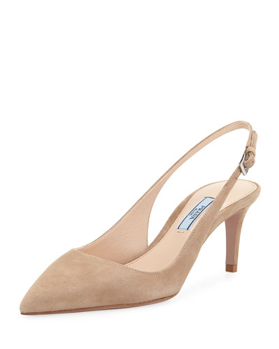 Suede Pointed Slingback Pumps
