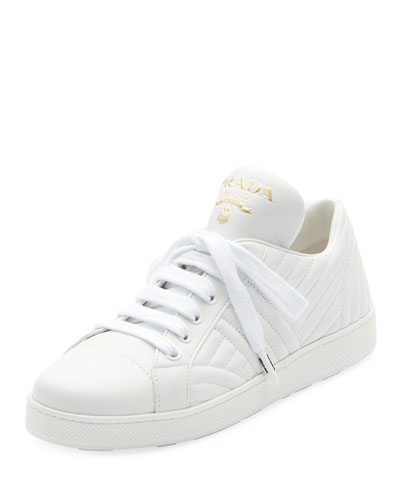 e193f3df039f Quilted Leather Lace-Up Sneakers