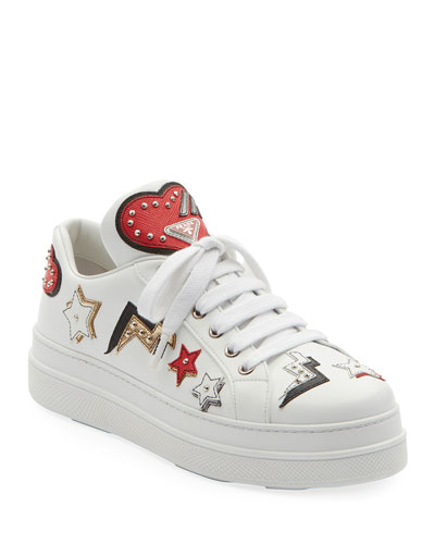 Heart Patches Leather Lace-Up Platform Sneakers