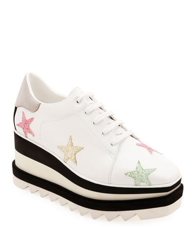 34e447c851141 Stella Mccartney Platform Shoes. Elyse Stars Glitter Platform Sneakers