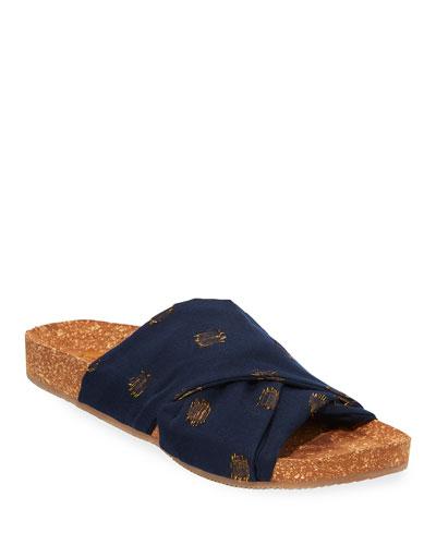 Suki Metallic-Dot Cotton Cork Flat Sandals