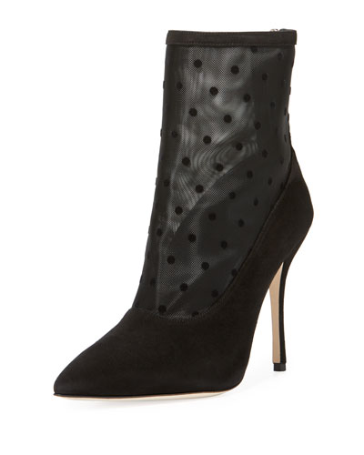 Bricmin Polka-Dot Mesh Point-Toe Booties