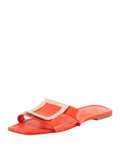 Flat Leather Buckle Sandals, Orange