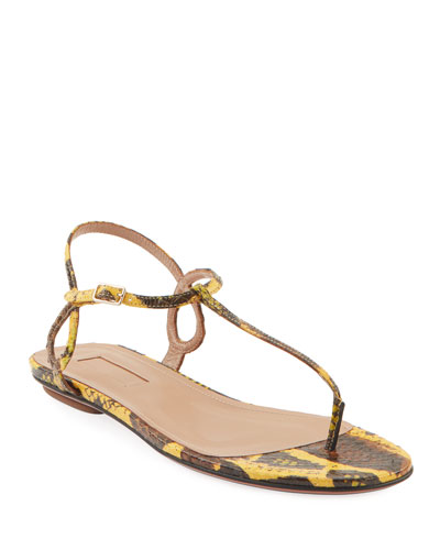 Almost Bare Snakeskin Flat Sandals