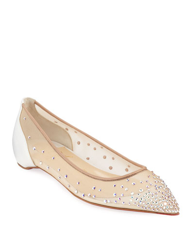 7ddb2c0e7b62 Follies Embellished Mesh Red Sole Flats Quick Look. Christian Louboutin