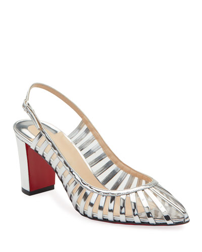 Jackie Caged Red Sole Pumps, Silver