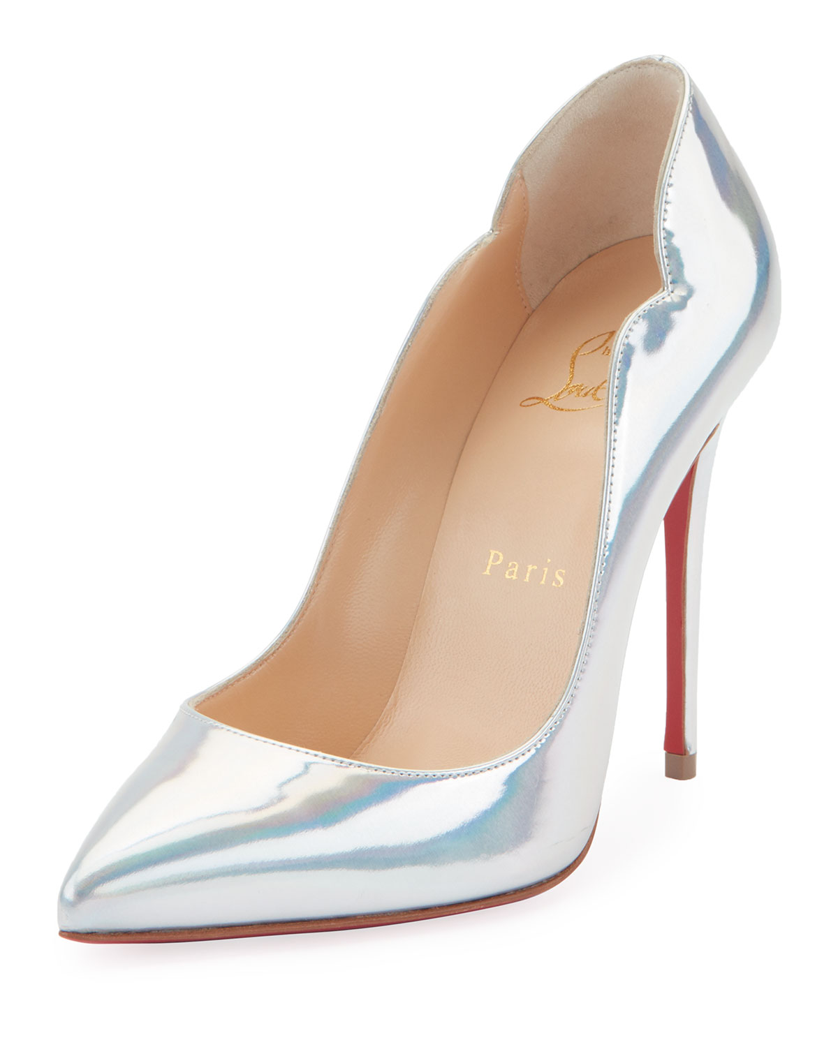Hot Chick Holographic Red Sole Pumps in Silver