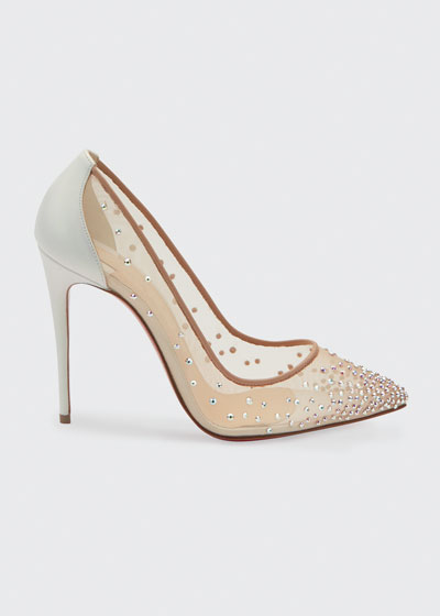 Follies Strass 100mm Mesh Red Sole Pumps