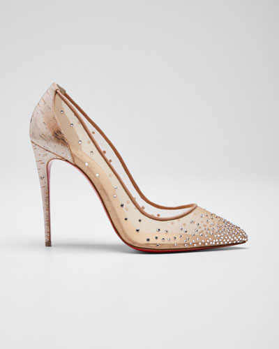 Follies Strass 100mm Red Sole Pumps with Cork