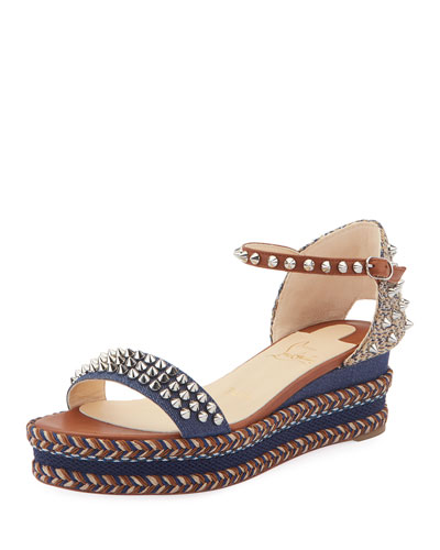Madmonica 60mm Spiked Denim Wedge Red Sole Sandals