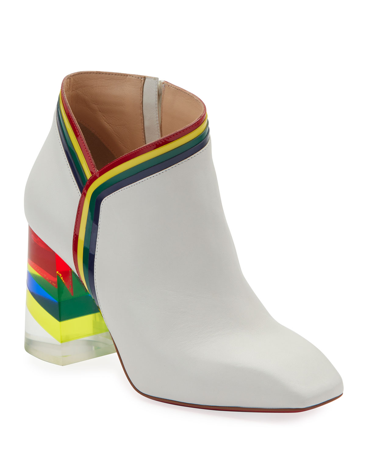 dd7a95290a7f Christian louboutin raniboot rainbow plexi heel red sole booties in white  jpg 1200x1500 Red christian louboutin