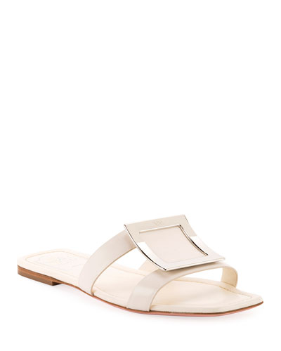 Flat Leather Buckle Sandals