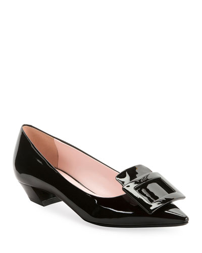 Gommette Patent Pointed Pumps, Black