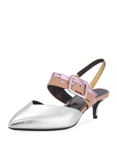 Alpha Metallic Leather Kitten-Heel Pumps