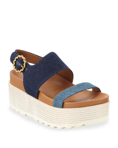 Jenna Denim Flatform Sandals