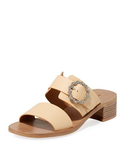 Kristen Block-Heel Leather Slide Sandals