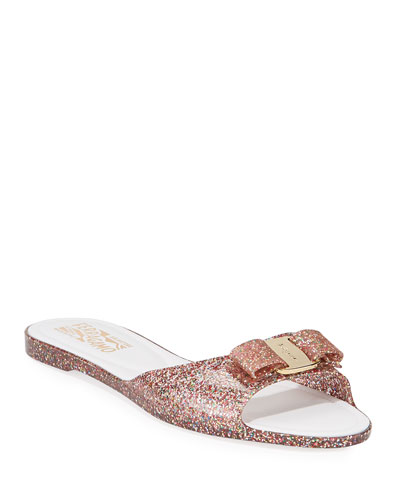 Cirella Glittered Jelly Slide Sandals