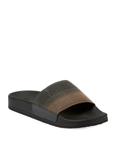 Monili Beaded Two-Tone Slide Sandals