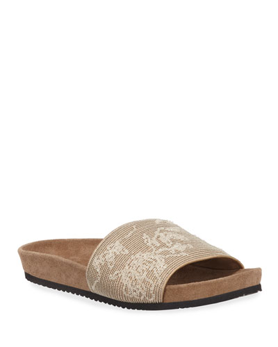 Sequined Floral Leather Slide Sandals