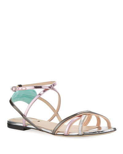 Colibri Metallic Strappy Flat Sandals