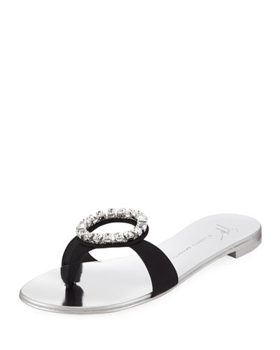 0b77fcfb0bb Flat Satin Slide Sandals w  Crystal Ring