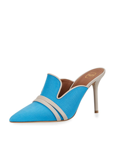 Haley Linen & Leather Mules, Blue