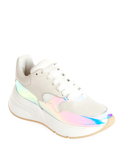 715948f5842 Leather and Holographic Lace-Up Platform Sneakers