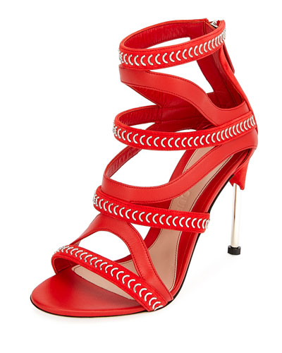 Alexander McQueen Cage Leather Chain-Trim Sandals, Red