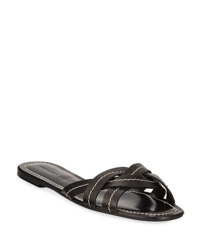 Maili Flat Leather Slide Sandals