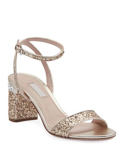 Glitter Crystal-Embellished Block-Heel Sandals