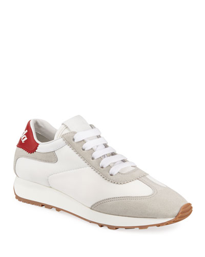 Track Lace-Up Leather Sneakers
