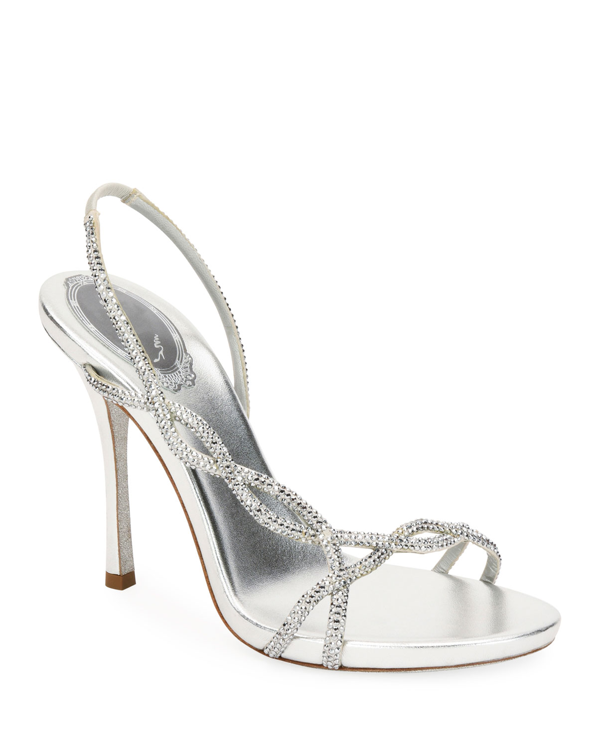 René Caovilla Sandals CRYSTAL-EMBELLISHED METALLIC SLINGBACK SANDALS