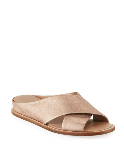 Fairley Metallic Leather Wedge Slide Sandals