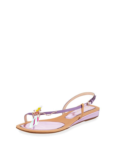 Dragonfly Ornamented Leather Sandals