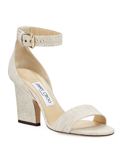 Edina Linen Ankle-Strap Sandals