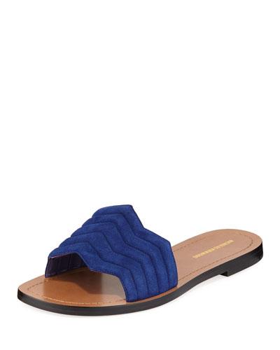 Chevron Flat Slide Sandals, Blue