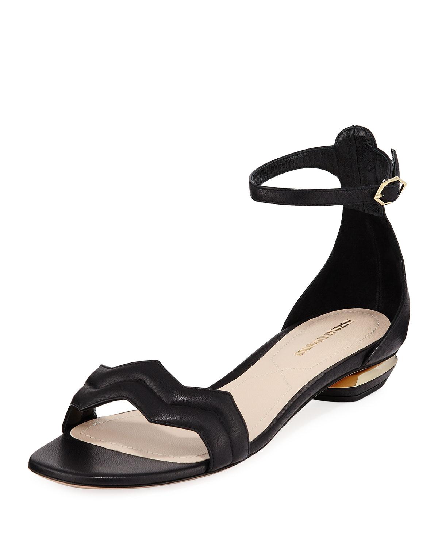 Chevron Leather Flat Sandals