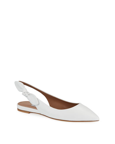 Slingback Leather Flats w/ Bow