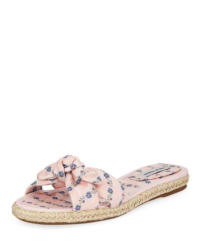 Heli Floral Slide Flat Sandals, Pink