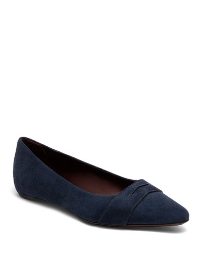 Suede Keeper Ballet Flats, Dark Blue