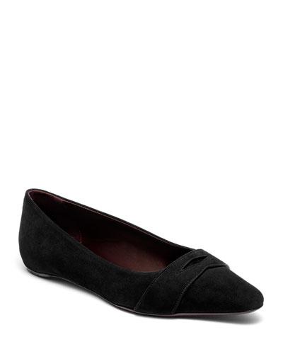 Suede Keeper Ballet Flats, Black