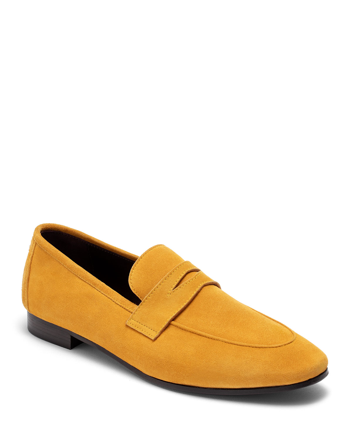 BOUGEOTTE Van Gogh Suede Penny Loafers in Yellow