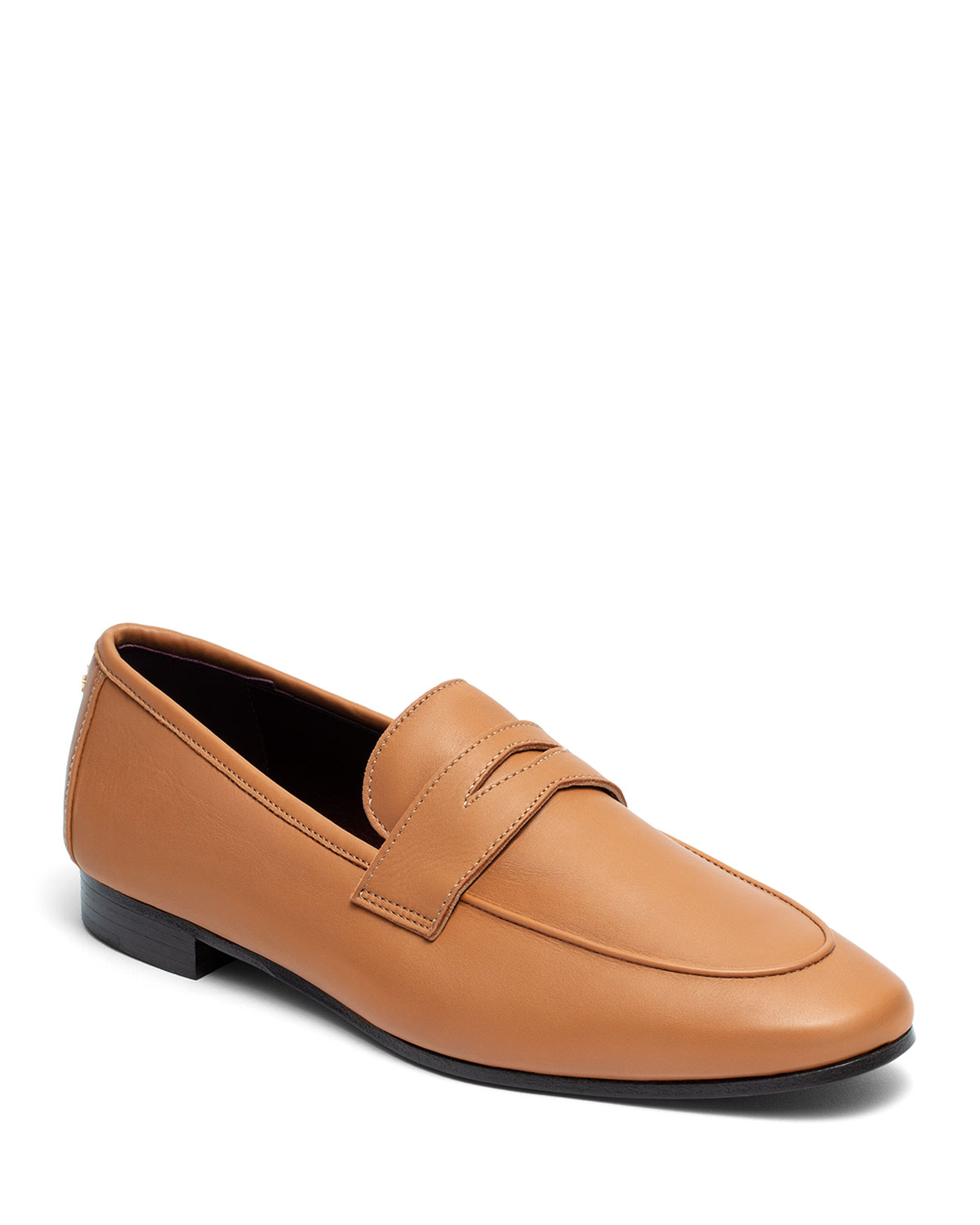 BOUGEOTTE Acajou Leather Penny Loafers in Brown