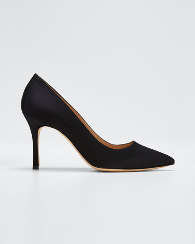 Pointed-Toe Satin Pumps